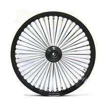 """Black/Chrome 48 King Spoke 21"""" x 2.15"""" Front Dual Disc Wheel for Harley & Custom"""