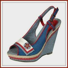 NWT BLUE NAUTICAL WEDGE 8 / 8.5 NEW rope trim SLINGBACK PEEPTOE SAILOR SHOES