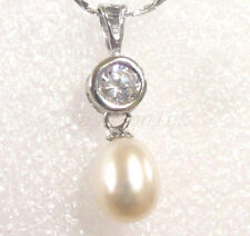 Women New Fresh Water Real White Pearl Necklace Chain Pendant Christmas Holiday