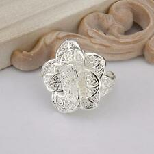 925 Sterling Plated Silver Filled Large Rose Flower Ring Jewellery Adjustable