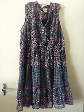 Mossimo Supply Co Blouse Dress XXL Black and Magenta Floral Sleeveless Summer