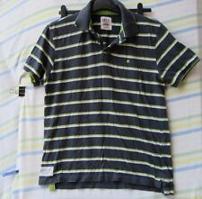 Mens T Shirt Easy Blue Green White Stripe Size Large 100% Cotton