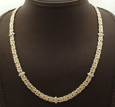 "18"" Diamond Accent Stationed Byzantine Chain Necklace Real 14K Yellow Gold"