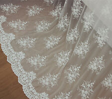 """White Embroidery Floral Bridal Lace Fabric 51"""" Wide for Wedding Dress 1/2 Yard"""