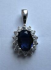 Sterling Silver Blue Sapphire and clear Cubic Zirconia Pendant