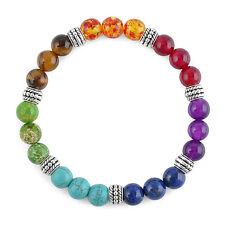 Womens 7 Chakra Mixed Gemstone Healing Chakra Pray Mala Bracelet Mens Jewelry