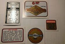 Briggs & Stratton Minibike label 6hp old school 14 ci 1964 77  Tule Trooper