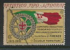 ITALY 1915-16 WW1 FIRENZE ROTARY 5c CHARITY FUND LABEL INSCRIPTIONAL