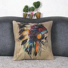 Indian Skull Cotton Linen Throw Pillow Case Cushion Cover Sofa Home Decor