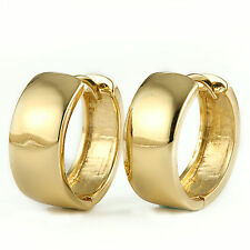 14k gold filled solid smooth polished band huggie hoop earrings for women girls