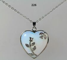 Moonstone blue/white heart pendant necklace, silver-plated detail & chain