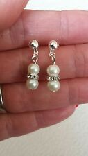 Ivory Pearl and Crystal Diamante Earrings Drop/Dangle Bridal Bridesmaid Gift Bag