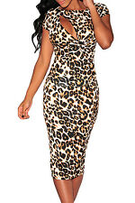 women Hollow-out Chest Leopard Midi party Formal Evening fashion bodycon dress