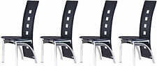 Set of 4 Dining Chairs Black PU Leather Padded Seat Luxury Modern Home Dinner