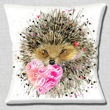"NEW Hedgehog Cartoon 'All you Need is Love' on White 16"" Pillow Cushion Cover"