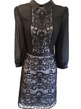 Karen Millen Dress Black Graphic Lace Embroidered Size 12 40