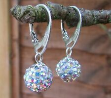 925 STERLING SILVER EARRINGS WITH SWAROVSKI ELEMENTS-Crystal AB Ball