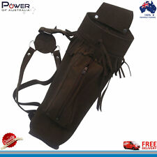 Traditional Suede Leather Back Arrow Quiver with Front Large Zipper Pocket, NEW