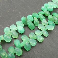 Chrysoprase Faceted Pear Briolette Beads (set of 5) Semi Precious Gemstone