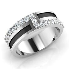 0.51ct Certified Real Diamond Engagement Mens Rings 14K White Gold I-J/SI1