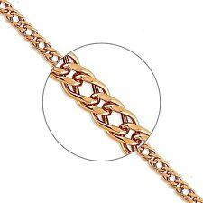 585 Russian Rose 14k Gold Double Rombo Chain Bracelet 19cm Gift Boxed
