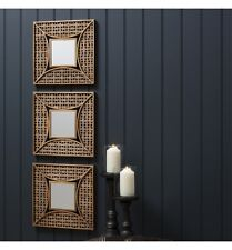 """Agadir Set of 3 Unique Accent Decorative Wall mirrors Aged Gold Finish 14"""" x 14"""""""