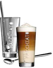 Gläser Kaffeeglas Kaffee Latte Macchiato Glas Becher Löffel Aufschrift 4 Teilig