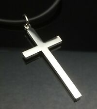 Silver Plain CROSS Pendant Necklace White Gold GP Black Leather Quality