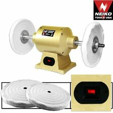 """NEW Six Inch Double Grinder Buffer.Two Wheels.120v.Arbor 1/2"""".Shop Power Tools."""