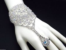 Bracelet Slave W Ring AB Crystal Silver Plated Women NEW