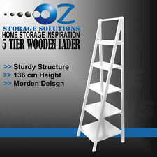 New White 5 Tier Wooden Ladder Shelf French Style BOOK DVD HOME DECOR 136CM