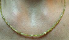 16ct genuine canary yellow Diamond solid 14k gold necklace Cut and polished 2mm