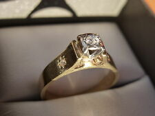 18k 18ct Solid Gold Diamond Solitaire Ring. 0.10ct Size M-N 4.31g