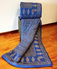 Handcrafted Rajasthani Quilt: midnight blue and gold screen print