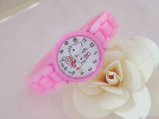 Kids Girls Hello Kitty Pink Wrist Watch Analog Silicone Strap Water Proof