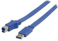 2m Valueline USB 3.0 KABEL A STECKER AN B STECKER FLACH AB FLACHKABEL BLAU NEU