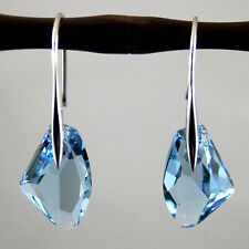 Aqua Blue Crystal Drop 18k white gold plated Earrings jewelry Fashion gift
