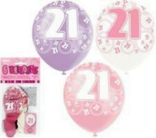 21st Birthday Balloons PARTY DECORATIONS SUPPLIES 28cm PINK, PURPLE - PACK OF 6