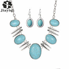 Vintage Silver Plated Feather Collar Necklace Fashion Turquoise Jewellery Sets
