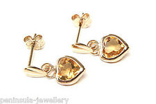 9ct Gold Citrine Heart Drop Earrings Gift Boxed Made in UK