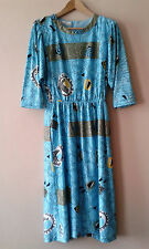 Early 90s vintage modernist abstract print blue day dress 14 16 postmodern