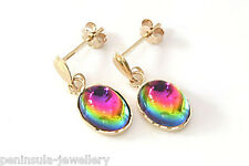 9ct Gold Rainbow Crystal Drop Earrings Gift Boxed Made in UK