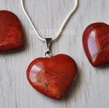 925 Silver Necklace & Natural Red Jasper Heart Pendant  Reiki Healing Stone 2mm