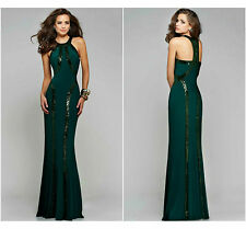 New Ladies Women Ball Gown Prom Party Formal Celeb Green Long Maxi Dress Size 12