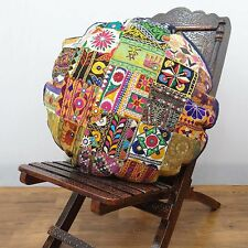 Home Decor Round Pillow Patchwork Indian Cushion Cover Sofa Cotton Fabric Case