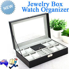 Watch Jewelry Display Storage Holder Case Box Organizer Glass Top Faux Leather