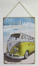 New Rustic Country Tin Wall Sign Plaque With Beach & Kombi Live in the Present