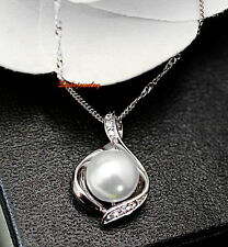White Gold Filled Swarovski Crystal White Pearl Teardrop Wedding Necklace N118