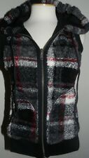 MAURICES SIZE SMALL PLAID FAUX FUR REVERSIBLE SLEEVELESS JACKET - VEST-