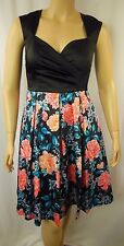 Review Black Multi Floral Geisha Garden Cocktail Races Dress Size 12 BNWT # L54